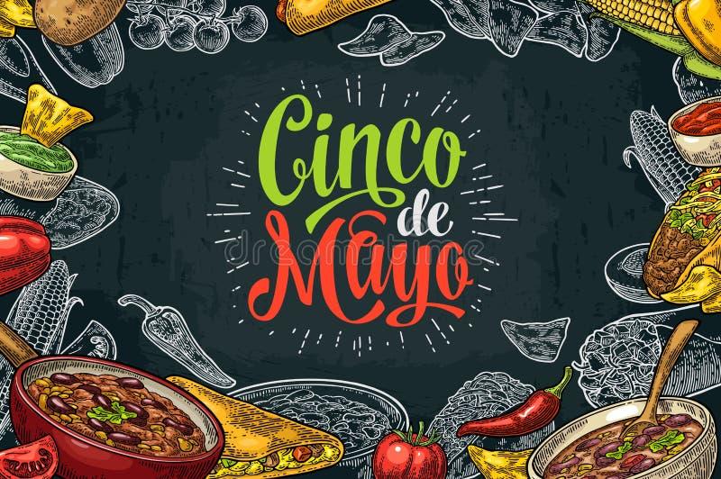 Cinco de Mayo bokstäver och mexikansk traditionell mat royaltyfri illustrationer