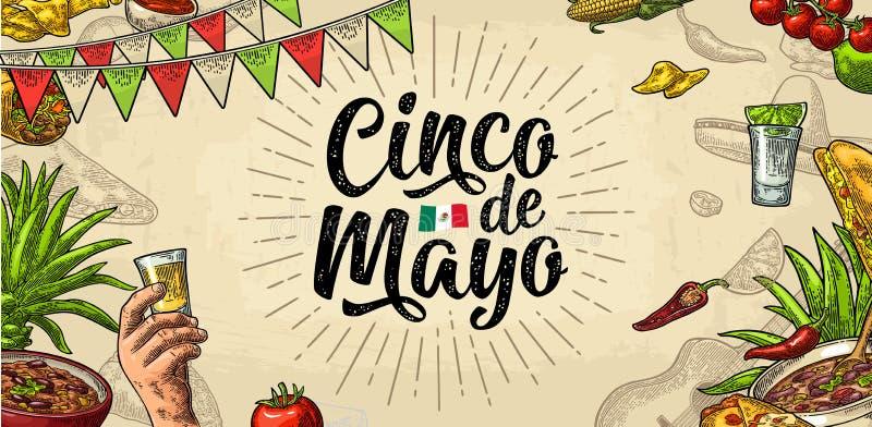 Cinco de Mayo bokstäver och mexikansk traditionell mat Vektorgravyr vektor illustrationer