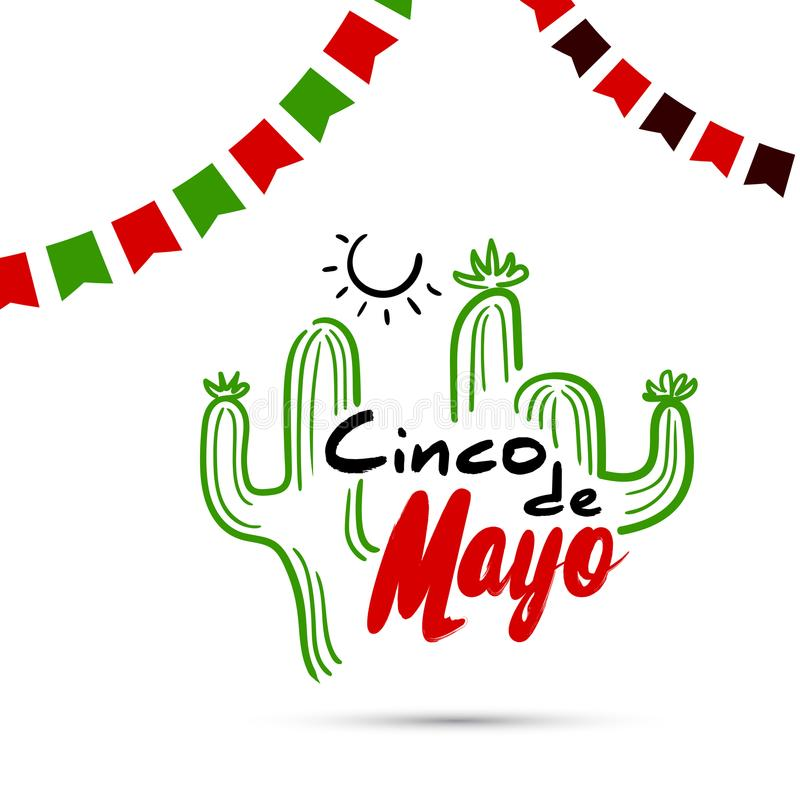 Cinco De Mayo With Cactus stock illustratie