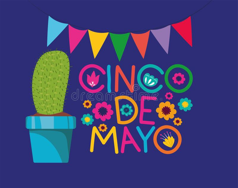 Cinco de mayo card with cactus and garlands vector illustration