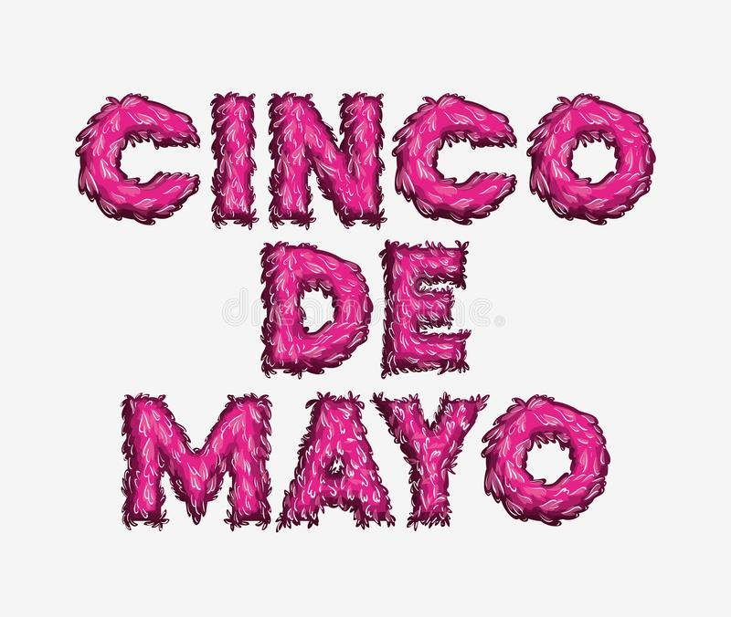 Cinco de mayo card with font colors vector illustration