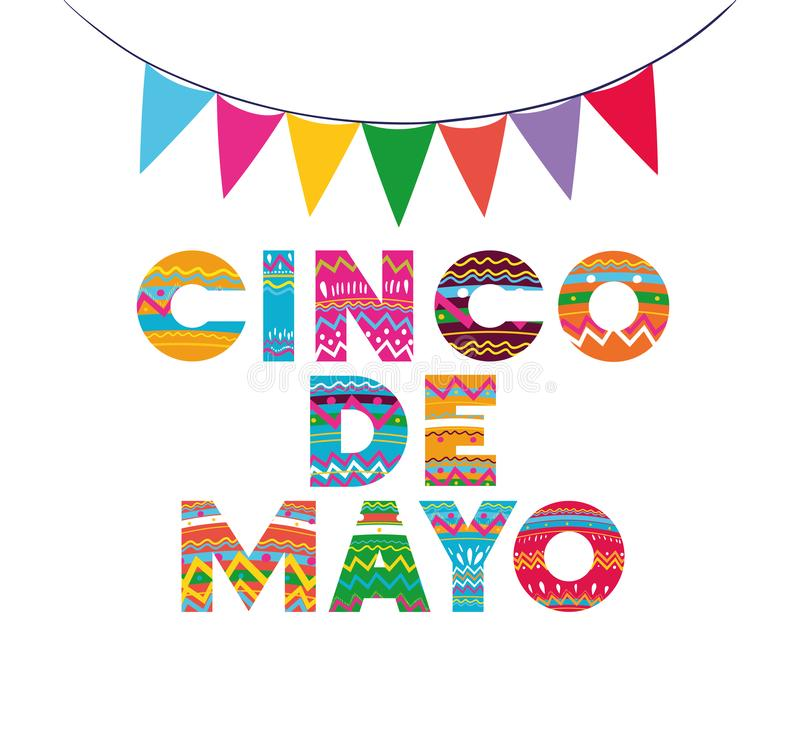Cinco de mayo card with garlands royalty free illustration