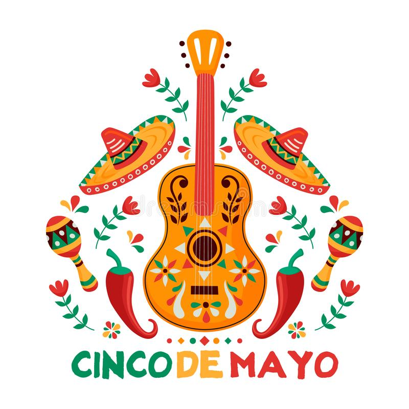Cinco de Mayo card of mexican culture decoration. Cinco de Mayo greeting card for Mexican independence celebration. Traditional mariachi guitar and mexico royalty free illustration
