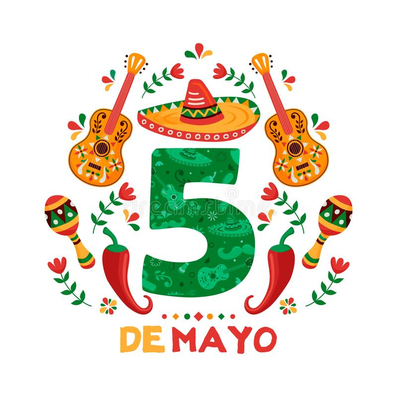 Cinco de Mayo card of mexican mariachi decoration. Cinco de Mayo greeting card for Mexican independence celebration. Number 5 sign with traditional mariachi vector illustration