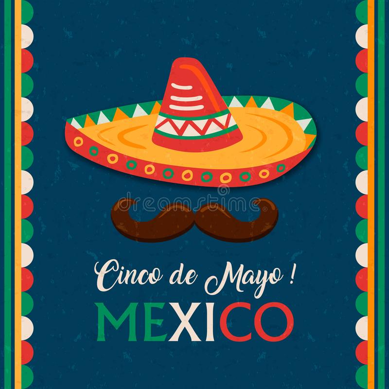 Cinco de Mayo card of mexican mariachi man hat. Cinco de Mayo greeting card for Mexican independence celebration. Traditional mexico mariachi hat and flag color royalty free illustration