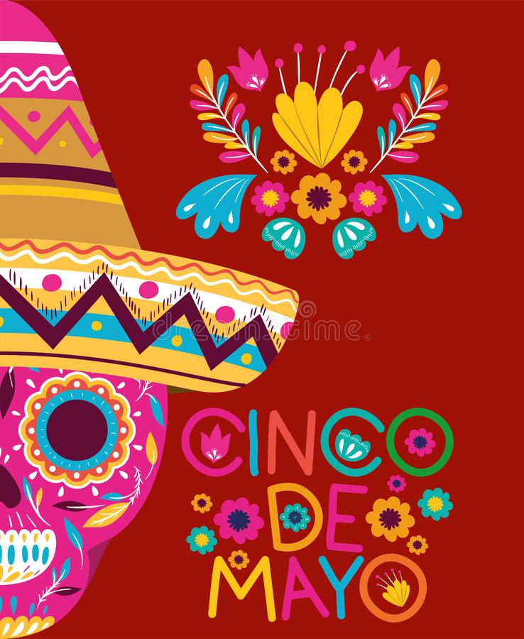 Cinco de mayo card with skull and hat vector illustration