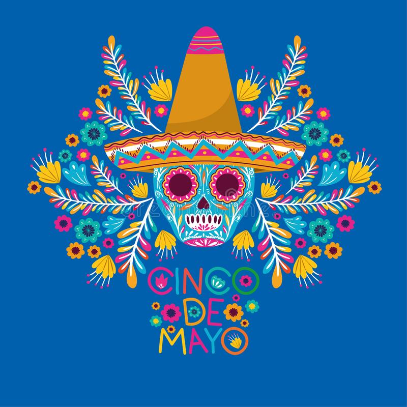 Cinco de mayo card with skull and hat stock illustration