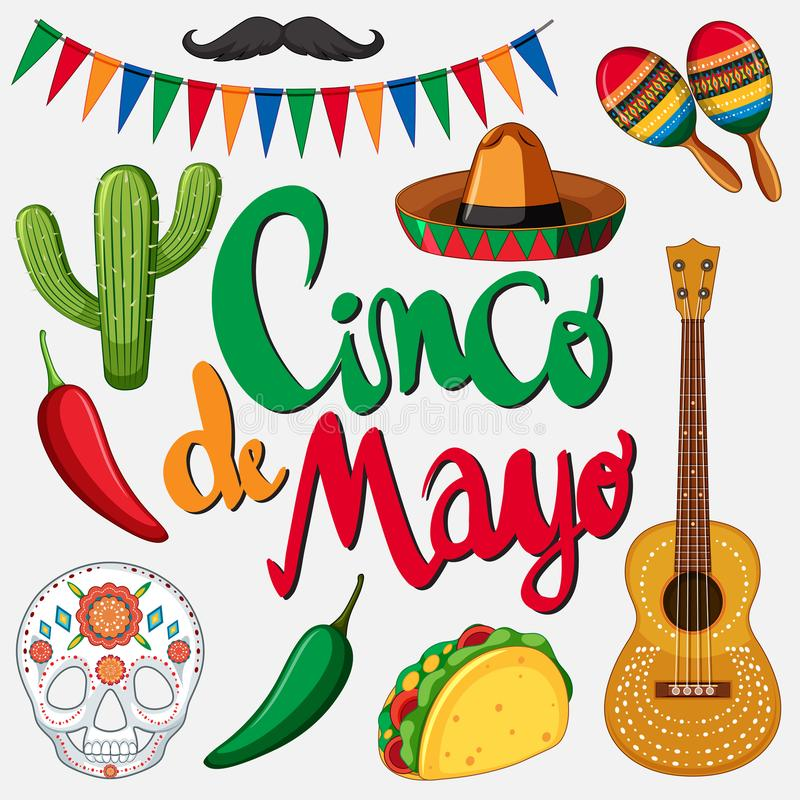 Cinco de mayo card template with mexican hat and food. Illustration stock illustration
