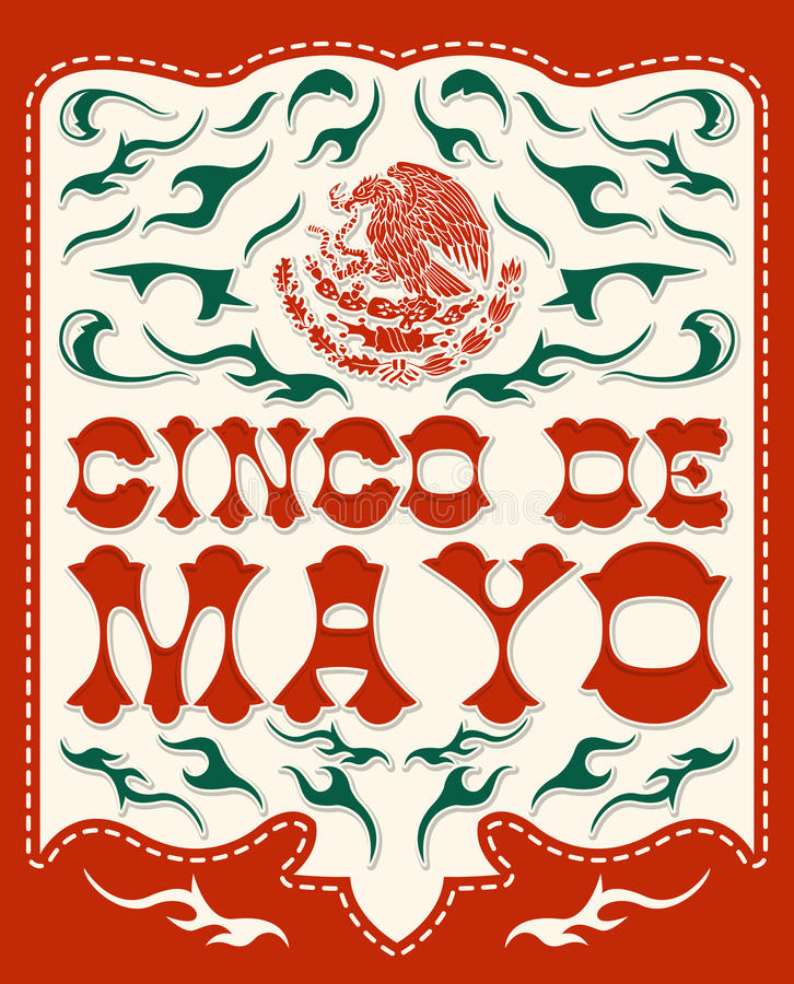 Cinco de Mayo - cartaz mexicano do vetor do feriado ilustração stock