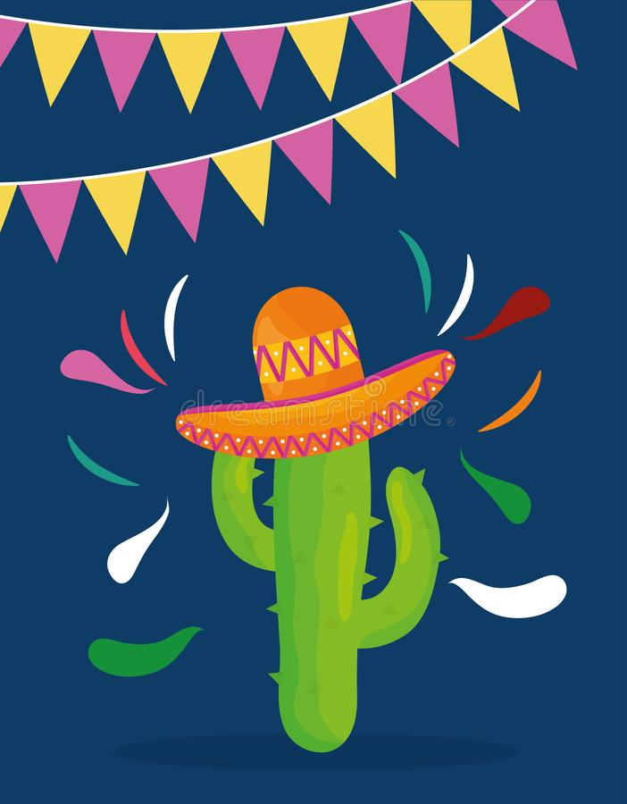 Cinco de mayo celebration with cactus and hat mexican. Vector illustration design vector illustration