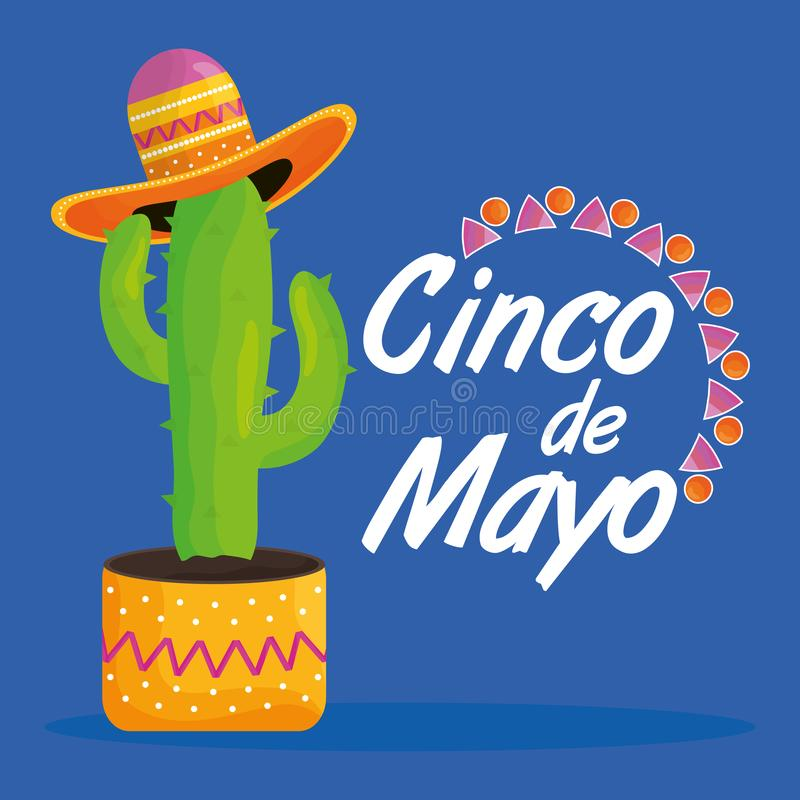 Cinco de mayo celebration with cactus and hat mexican. Vector illustration design stock illustration