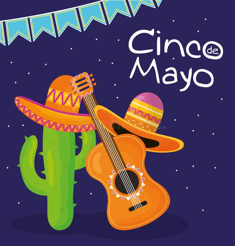 Cinco de mayo celebration with guitar and hat mexican. Vector illustration design royalty free illustration
