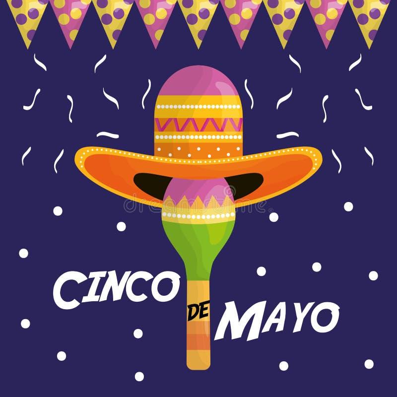 Cinco de mayo celebration with hat mexican and maraca. Vector illustration design vector illustration