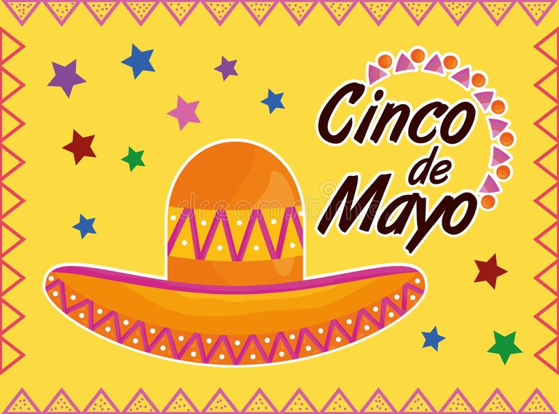 Cinco de mayo celebration with hat mexican. Vector illustration design stock illustration