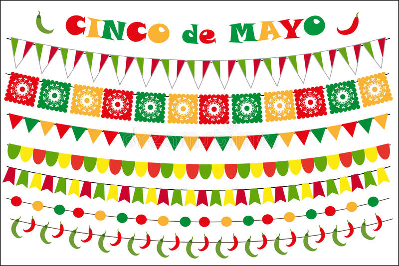 Cinco de Mayo celebration set of colored flags, garlands, bunting. Flat style, on white background. Vector. Illustration, clip art royalty free illustration