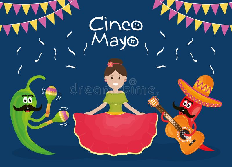 Cinco de mayo celebration woman with musician characters stock illustration
