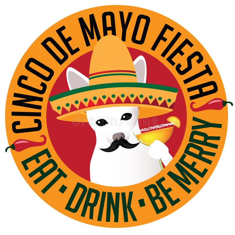 Cinco De Mayo Chihuahua-het pictogram van sombreromargarita royalty-vrije illustratie