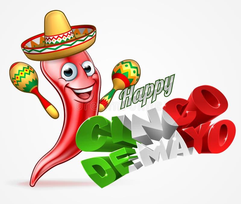 Cinco De Mayo chili pieprzu projekt ilustracji