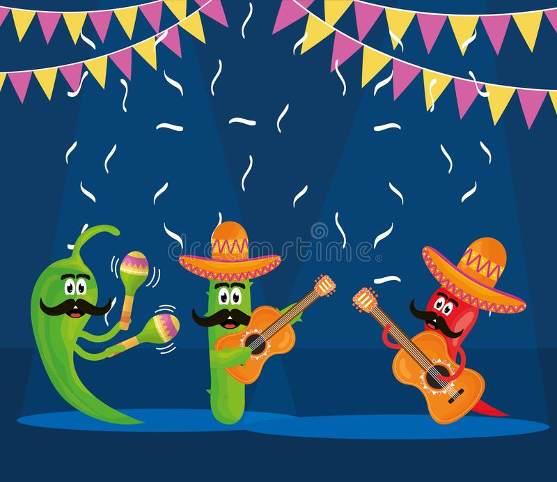 Cinco de mayo chilli and cactus characters playing instruments stock illustration