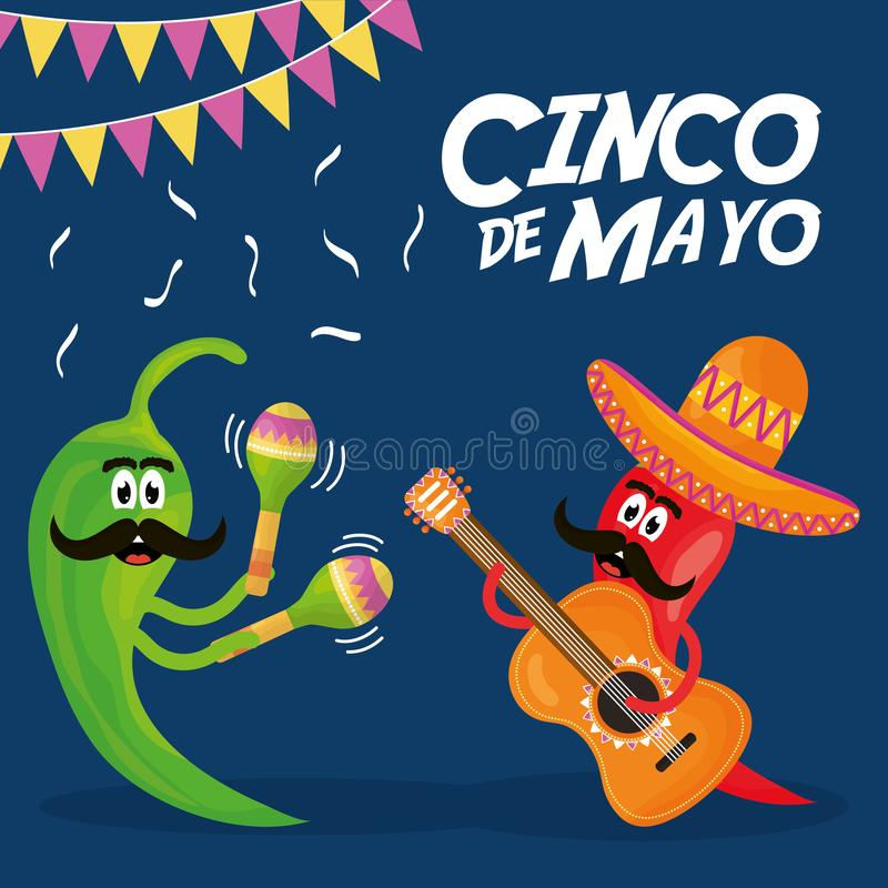 Cinco de mayo chillis characters playing instruments vector illustration