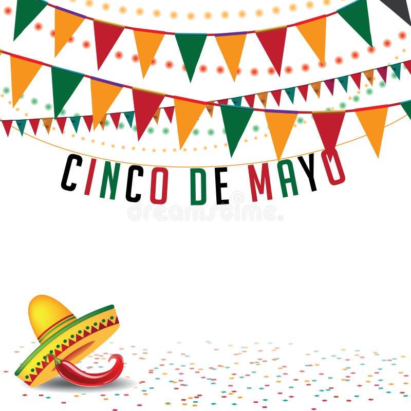 Cinco De Mayo chorągiewki tła EPS 10 wektor royalty ilustracja