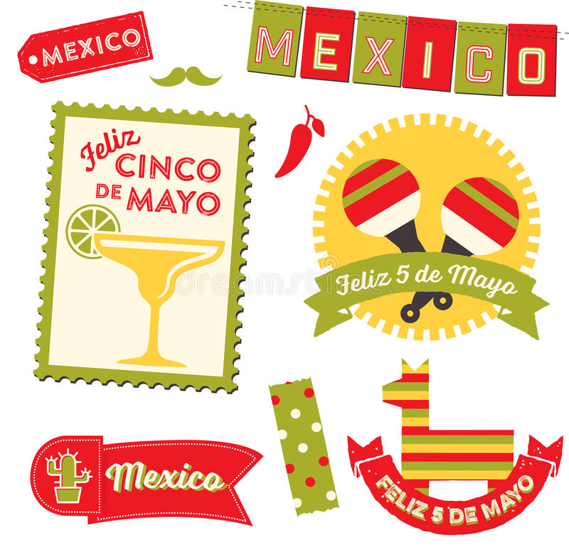 Cinco de Mayo Clipart. Badges, emblems, decorative elements and icons in celebration of the Mexican holiday 5 De Mayo royalty free illustration