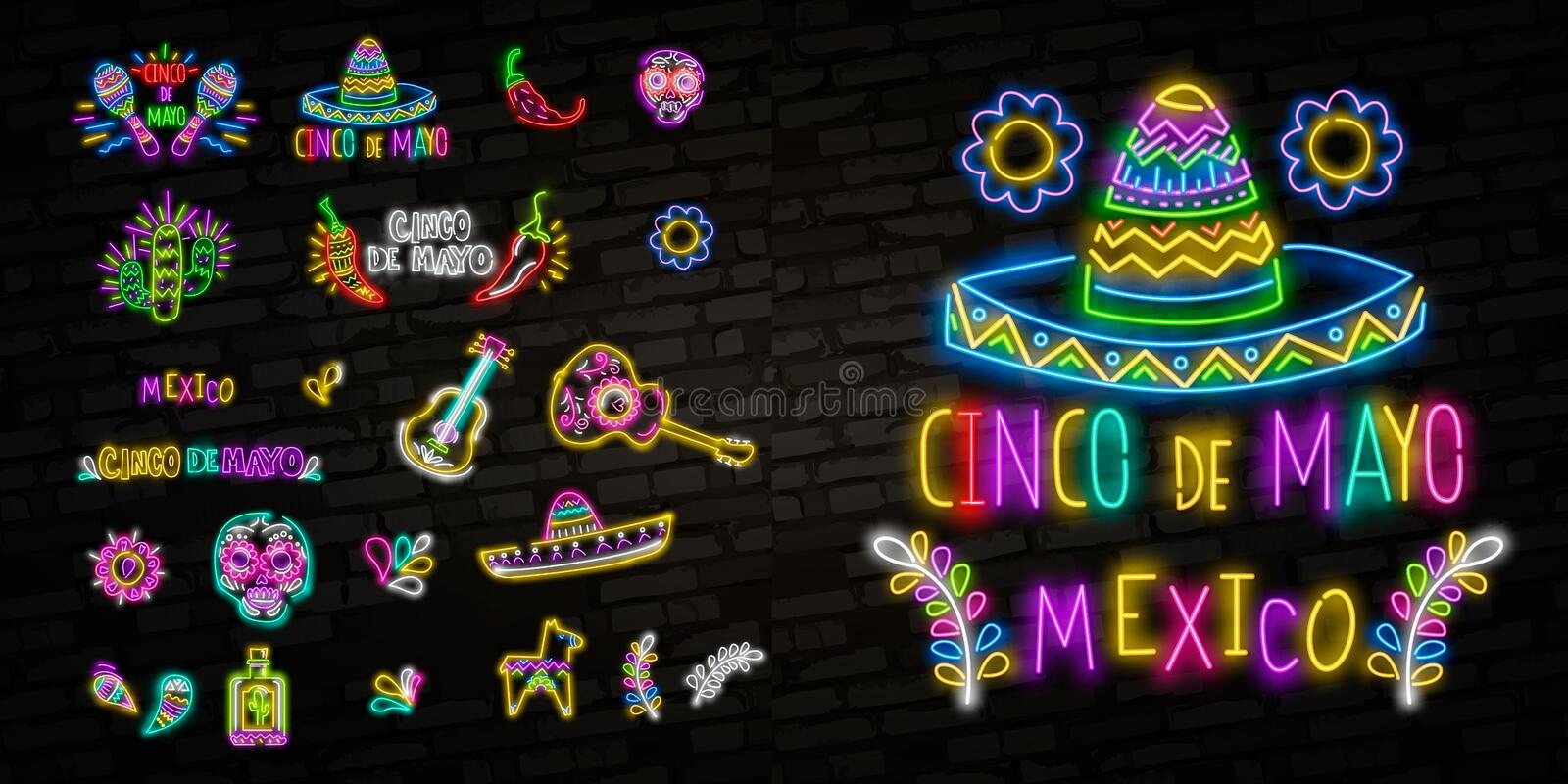 Cinco de Mayo Collection posters in neon style. Set Design Templates Flyers invitation for Sinco de Mayo Celebration, Brochure. Neon, Light Banner stock image