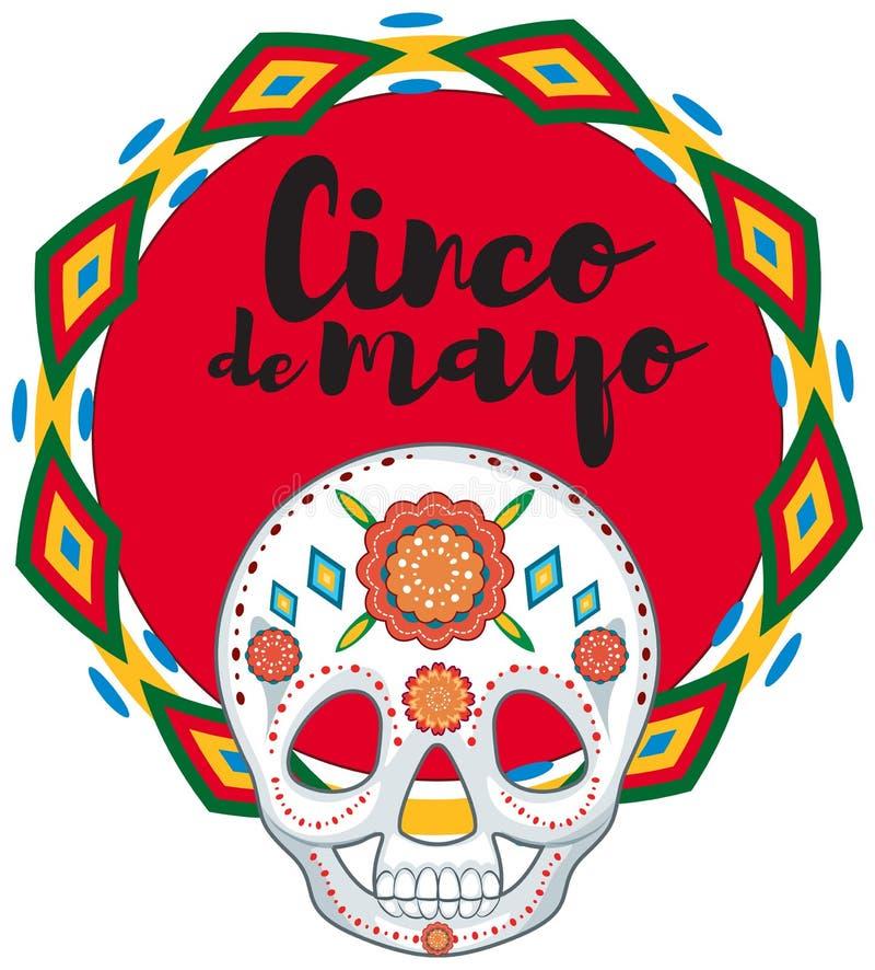 Cinco de Mayo com máscara do crânio ilustração royalty free