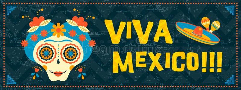 Cinco de Mayo czaszki sieci sztandaru meksykańska cukrowa sztuka