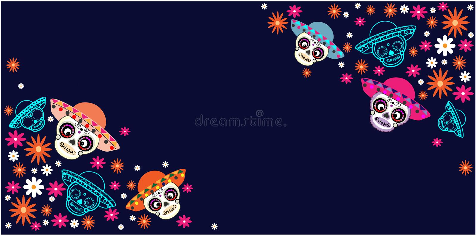 Cinco de Mayo, Day of the dead, Mexican holiday, festival. Vector poster, banner and card with sugar skull with a hat and flowers vector illustration