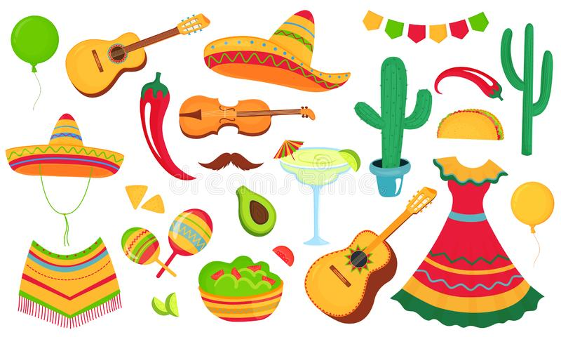 Cinco de Mayo. Design of a poster, banner, flyer for the Mexican holiday. Musical instruments, local food, clothing vector illustration