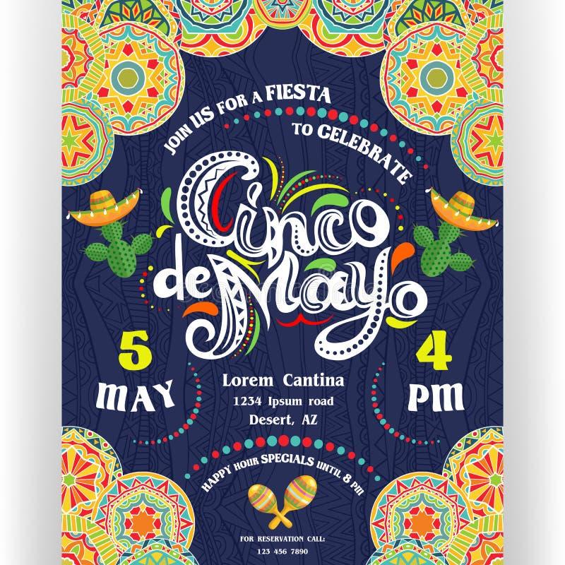 Cinco De Mayo die affichemalplaatje aankondigen royalty-vrije illustratie