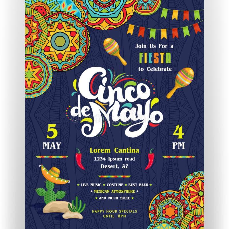 Cinco De Mayo die affichemalplaatje aankondigen vector illustratie