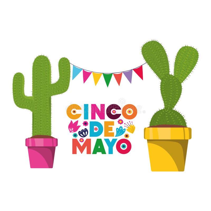Cinco de mayo etikett med den kaktus isolerade symbolen stock illustrationer