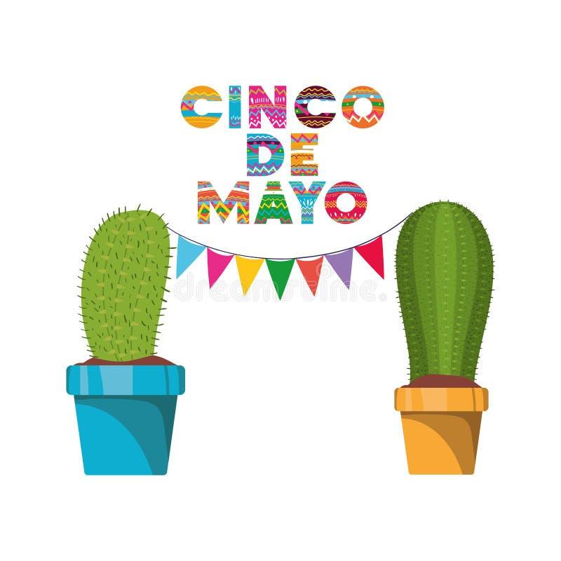 Cinco de mayo etikett med den kaktus isolerade symbolen vektor illustrationer