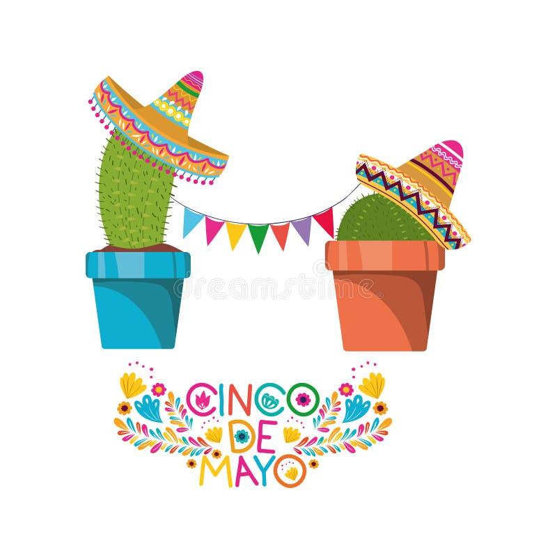 Cinco de mayo etikett med den kaktus isolerade symbolen royaltyfri illustrationer