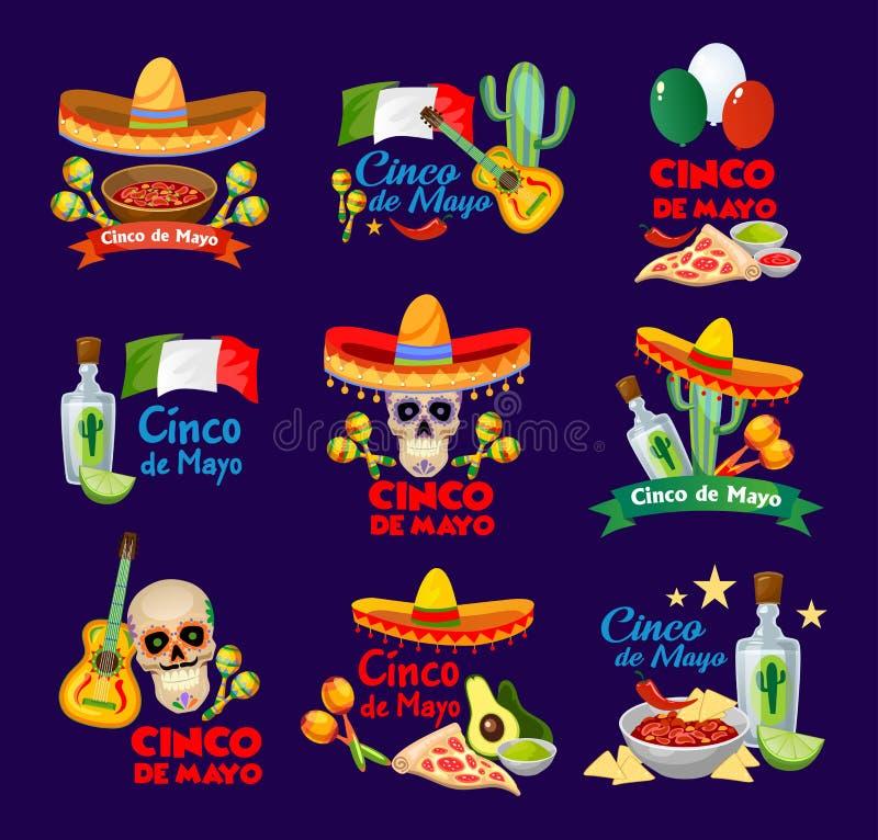 Cinco de Mayo etykietki z tradycyjnym meksykańskim jedzeniem i decoratio