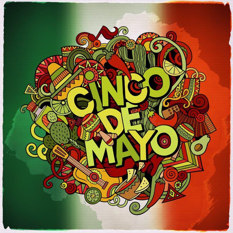 Cinco de Mayo färgrikt festligt meddelande royaltyfri illustrationer