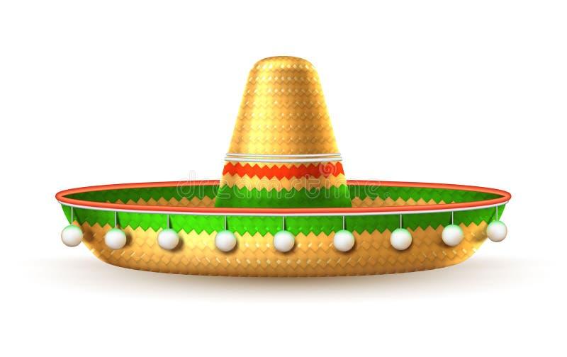 Cinco de mayo för mexikansk hatt för vektorsombrero 3d royaltyfri illustrationer