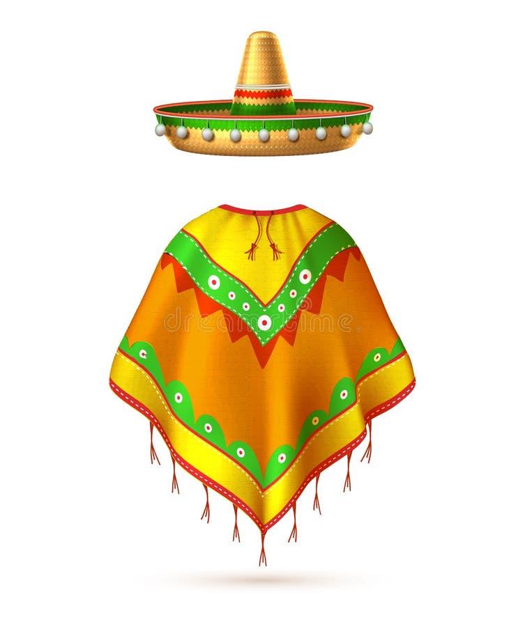 Cinco de mayo för mustasch för mexikansk hatt för vektorsombrero royaltyfri illustrationer