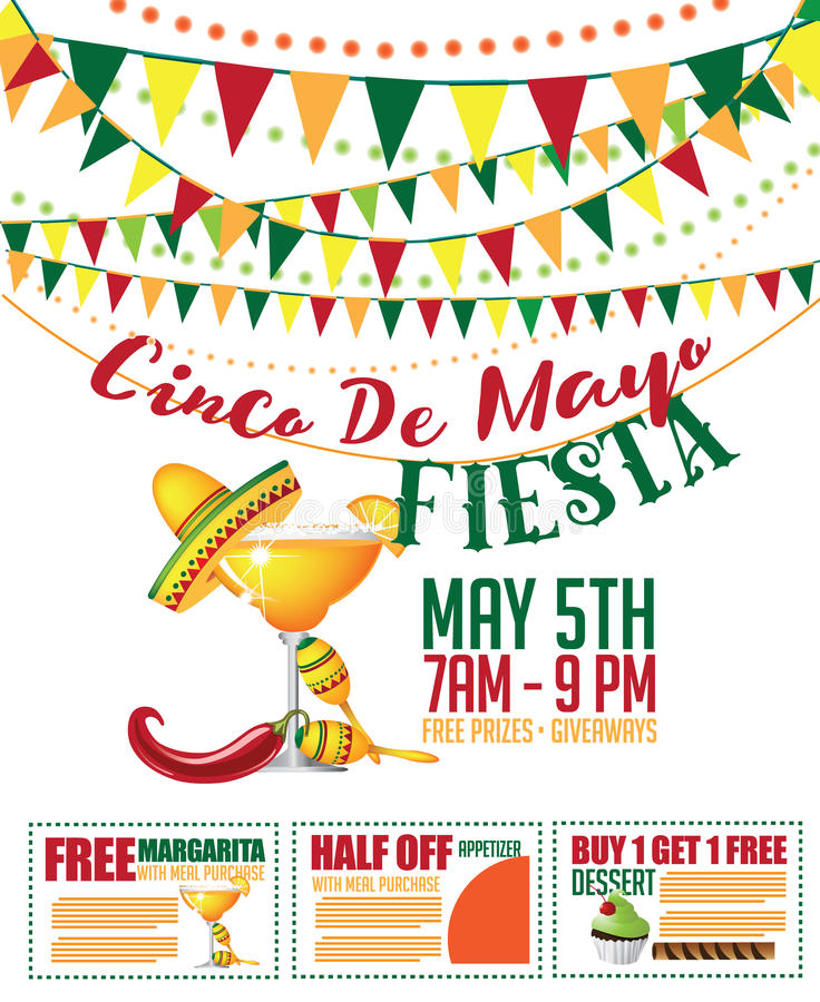 Cinco de Mayo försäljningsbunting och kupongmarknadsföringsmall royaltyfri illustrationer