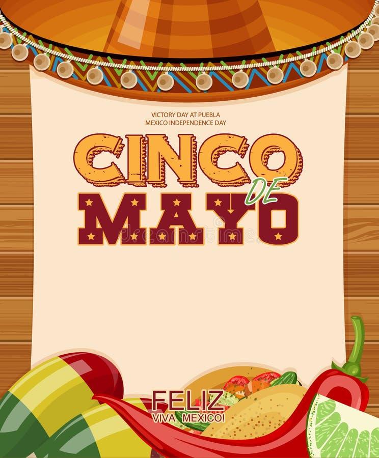 Cinco DE Mayo Feliz Affiche met leeg document vector illustratie