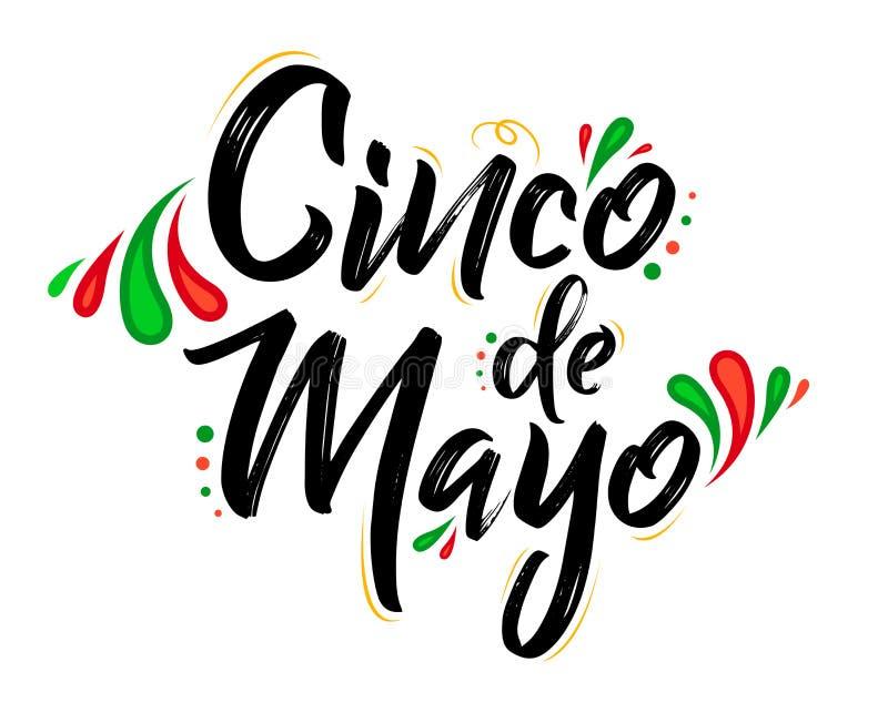 Cinco de Mayo, festa messicana tradizionale, segnante l'illustrazione con lettere di vettore illustrazione di stock