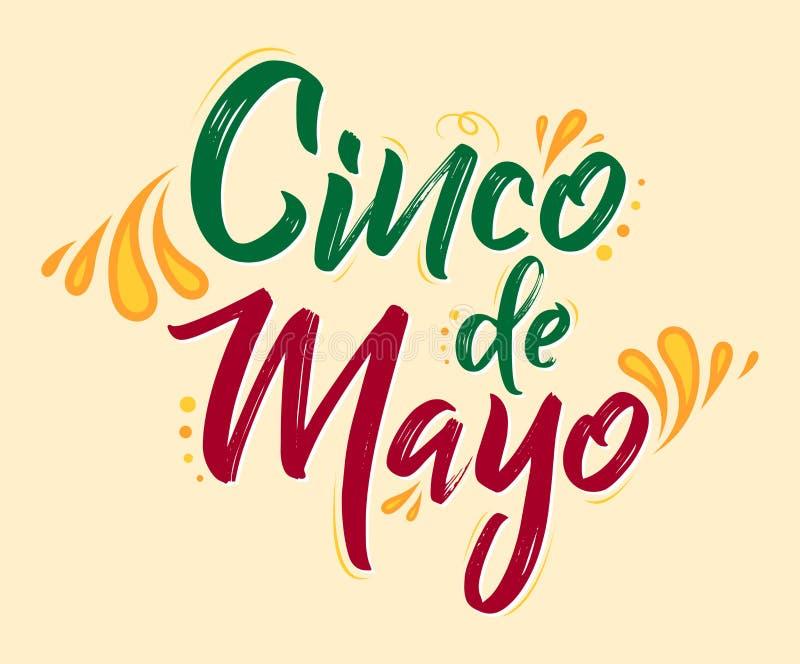 Cinco de Mayo, festa messicana tradizionale, segnante l'illustrazione con lettere di vettore illustrazione vettoriale