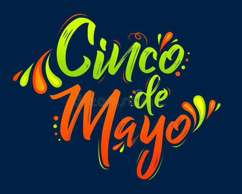 Cinco de Mayo, festa messicana tradizionale, segnante l'illustrazione con lettere di vettore royalty illustrazione gratis
