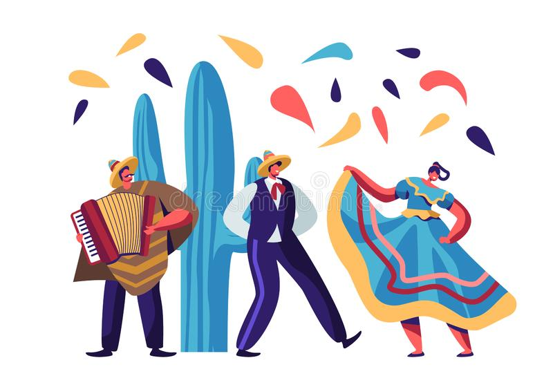 Cinco De Mayo Festival. Mexican Artists Band of Man with Accordion and Couple of Male and Female Dancers in Traditional Clothes. Celebrating National Folk Music stock illustration
