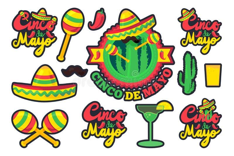 Cinco De Mayo. Festival Stickers Set from chili, confetti, cactus, mustache and margarita, sombrero and maraca. Festival Poster. Vector stock illustration