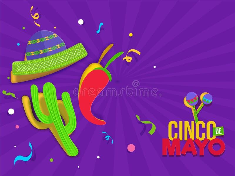 Cinco De Mayo festivalberöm med partibeståndsdelar på retro purpurfärgad bakgrund för popkonst vektor illustrationer