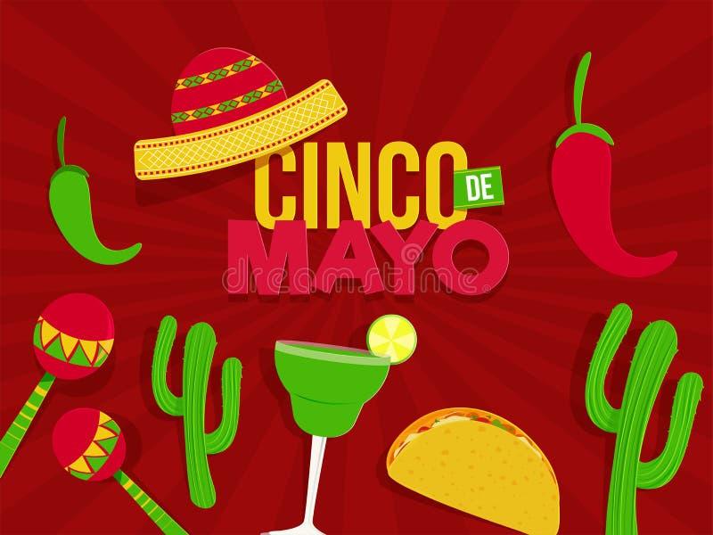 Cinco De Mayo festivalberöm med partibeståndsdelar på retro röd bakgrund för popkonst vektor illustrationer