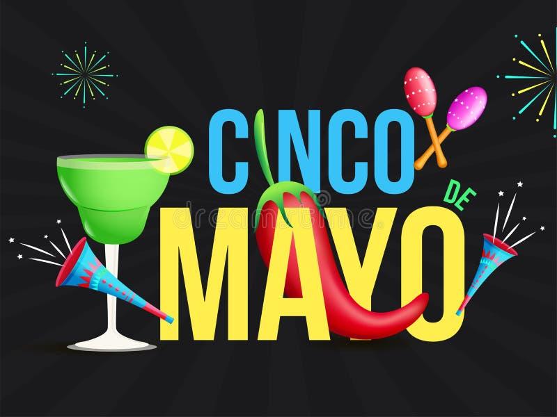 Cinco De Mayo festivalberöm med partibeståndsdelar på retro svart bakgrund för popkonst stock illustrationer
